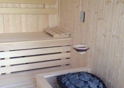 Finn szauna belső rezgőnyár alapanyagból, szauna-kályhával